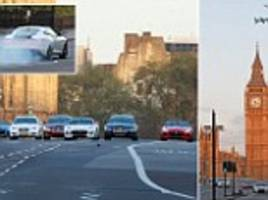 fleet of jaguars race past big ben and across westminster bridge for new advert