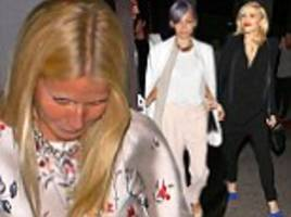Gwyneth Paltrow gets camera shy after girls night out with pals Gwen Stefani and Nicole Richie